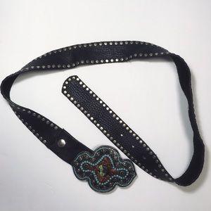 Cache Genuine Leather Belt Boho Dark Brown Jewel